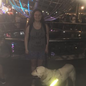 Holly and guide dog Isla at universal studios