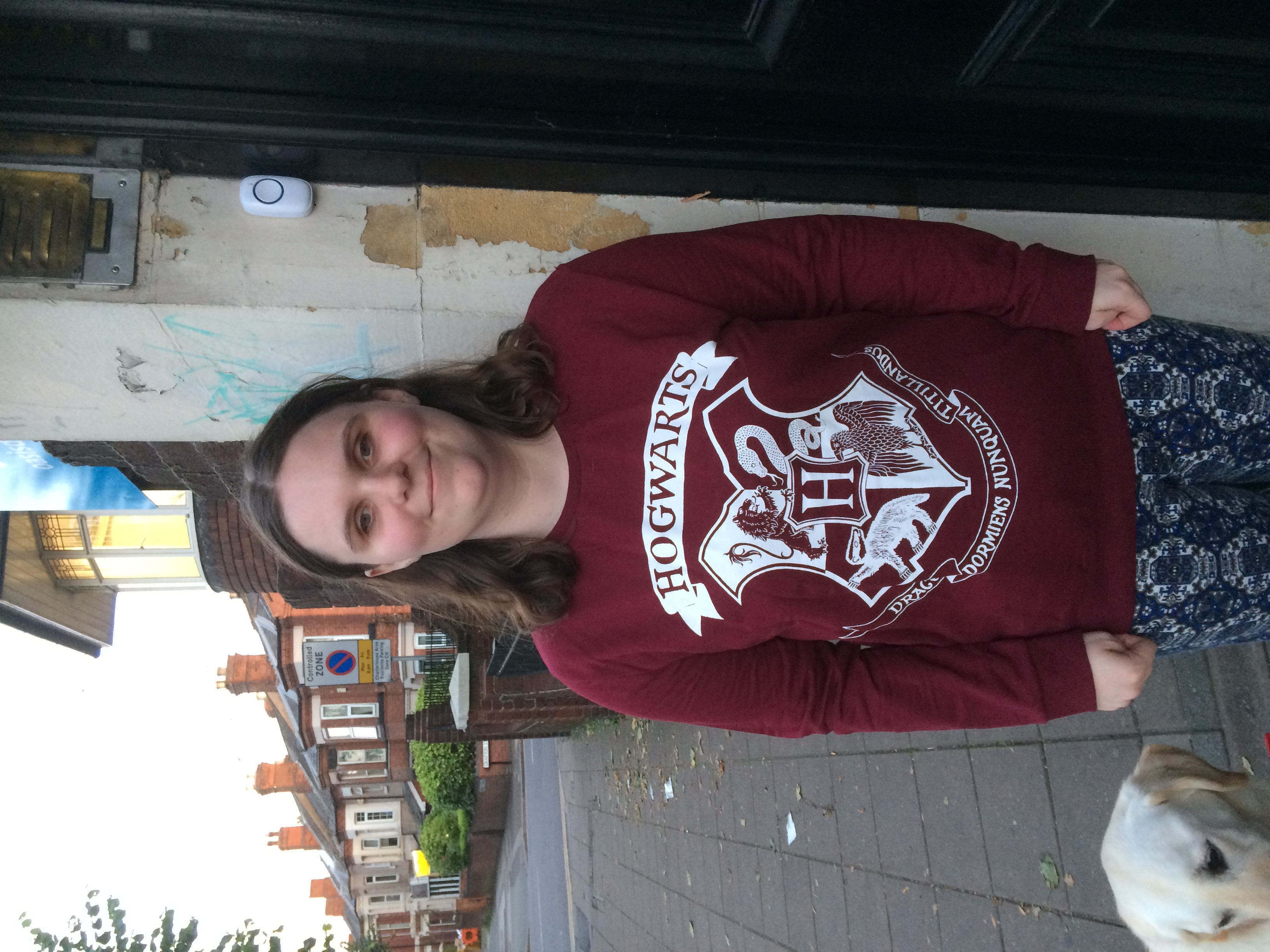 Holly wearing a Harry Potter jumper