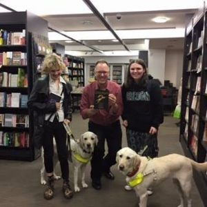 Me, Anna, Garth Nix and two guide dogs.