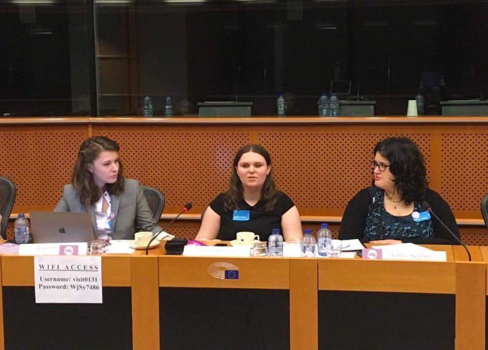 Holly speaking at the European Parliament