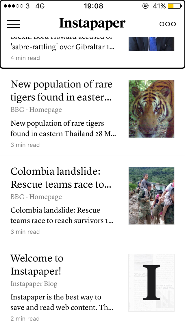 A screenshot of the app, showing several saved articles.