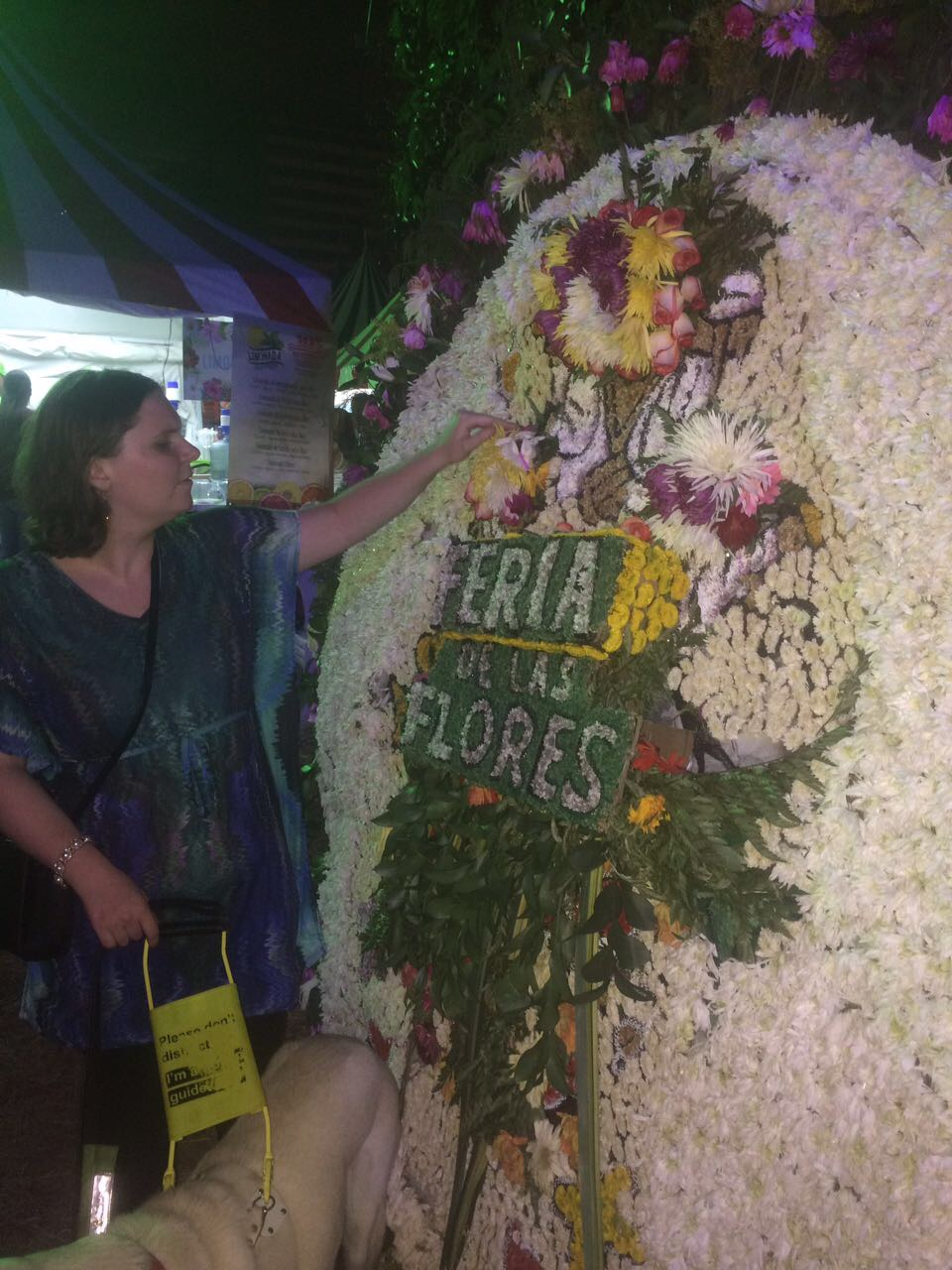 Me at the plaza de las flores in Ciudad del rio. I'm touching a silleta that is taller than me and has a flower design that spells out Feria de las Flores.
